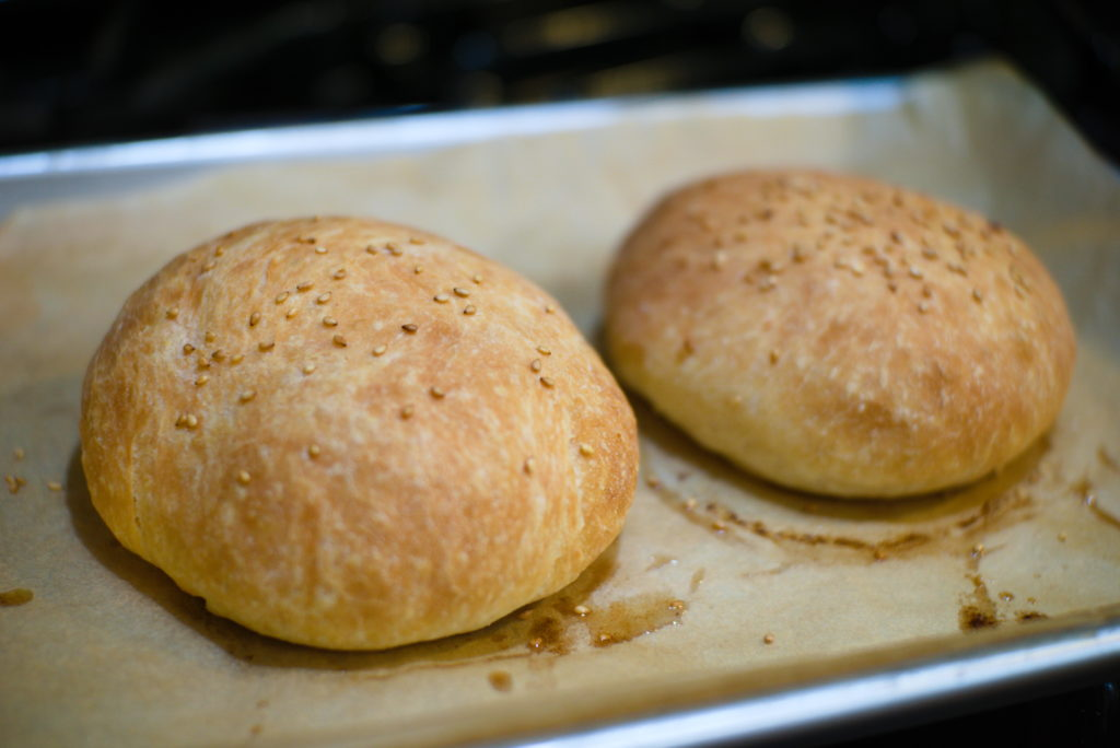 Two Homemade Hamburger Buns fresh out of the oven